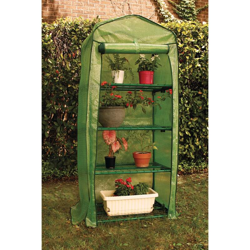 Maxam 4 Tier Steel Frame Mini Green House with Full Length PVC Cover