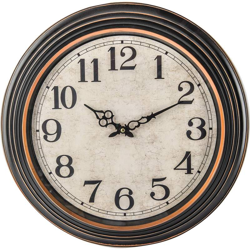 """20"""" ANTIQUE LOOK BLACK FRAME ROUND WALL CLOCK"""