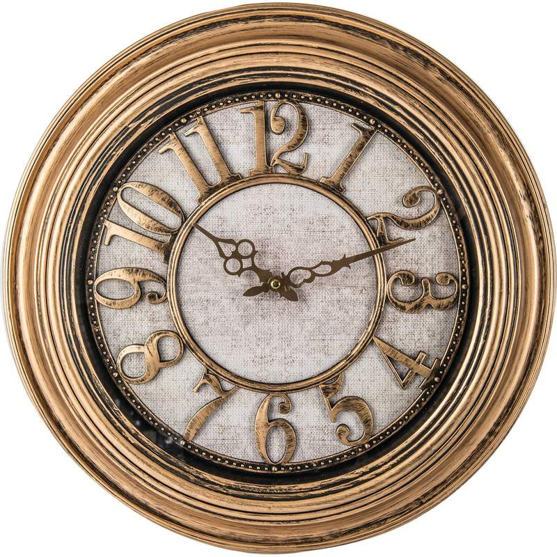 "Brookwood 20"" Round Wall Clock with Antique Gold Frame and Dial"