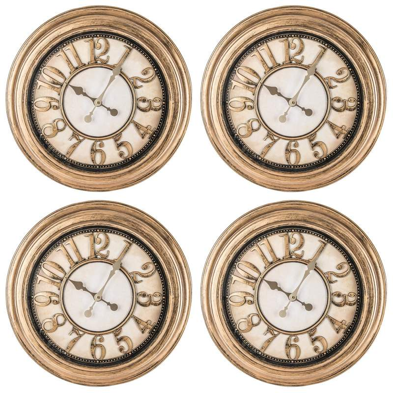 """24"""" Antique Gold Round Wall Clock"""