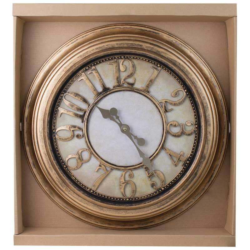 "24"" Antique Gold Colored Round Wall Clock"