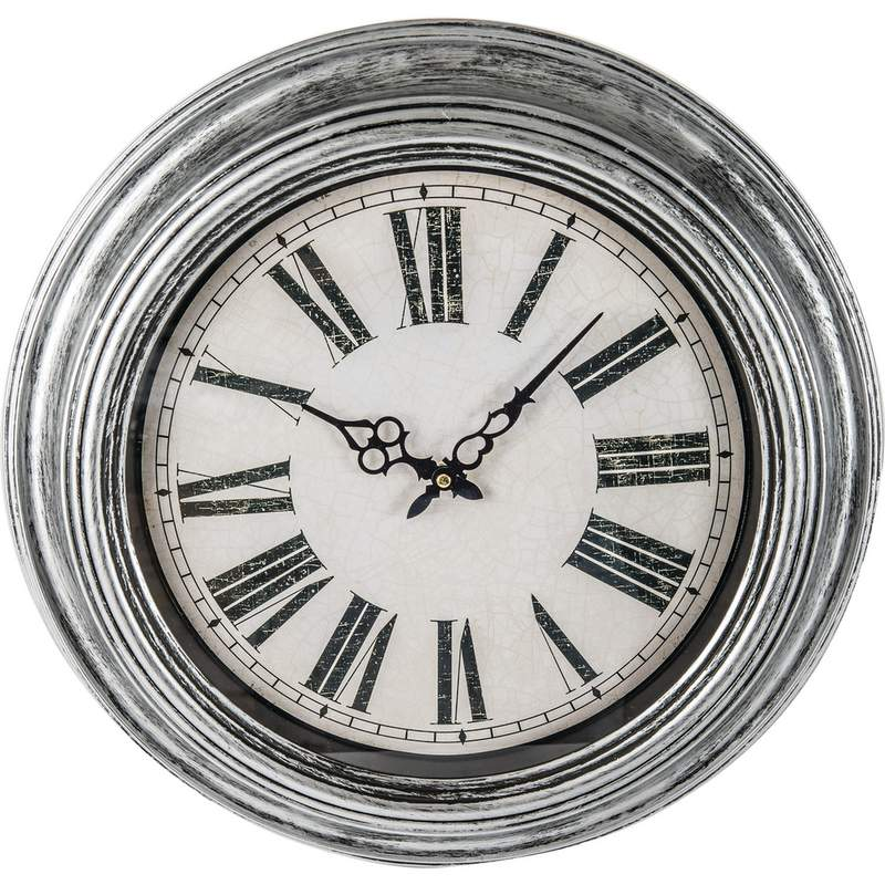 "Brookwood 20"" Antique Silver Round Wall Clock"