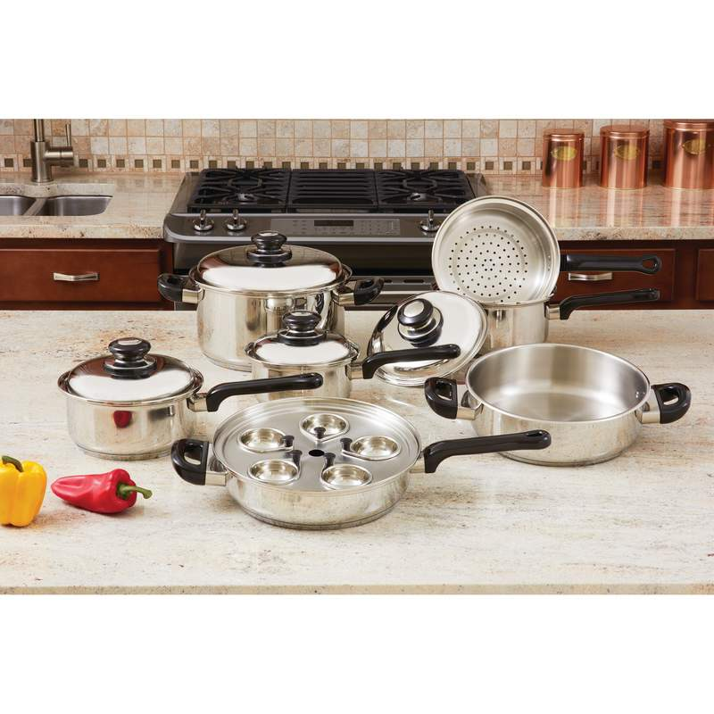 17pc Heavy Gauge T304 Stainless Steel Cookware Set
