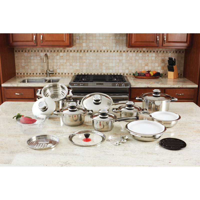 28pc 12 Element High Quality, Heavy Gauge Stainless Steel Cookware Set