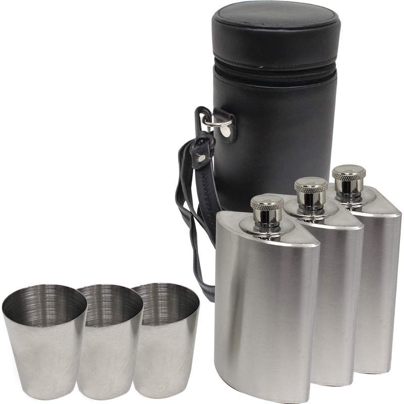 Maxam 7 Pc Stainless Steel Flask Set