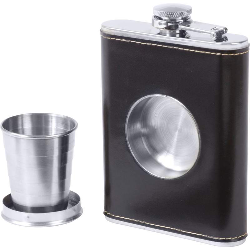 Maxam 6.8oz Black Wrap Stainless Steel Flask With Built In Cup