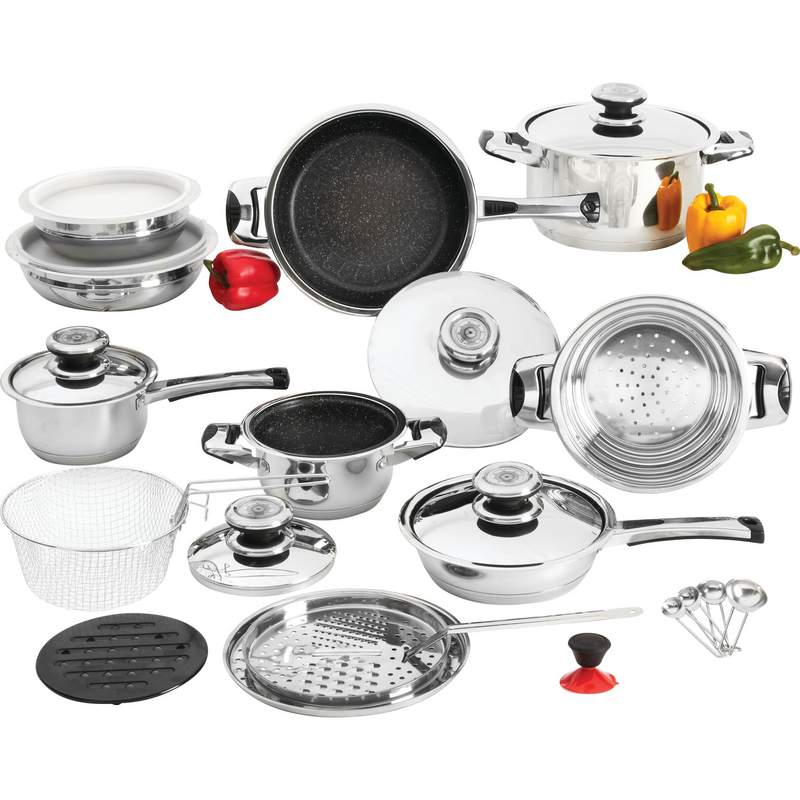 26pc 12 Element, Heavy Gauge Non Stick Stainless Steel Cookware