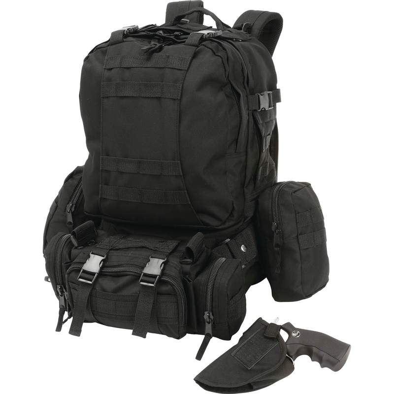 Extreme Pak 4pc Black Backpack with Concealed Handgun Holster