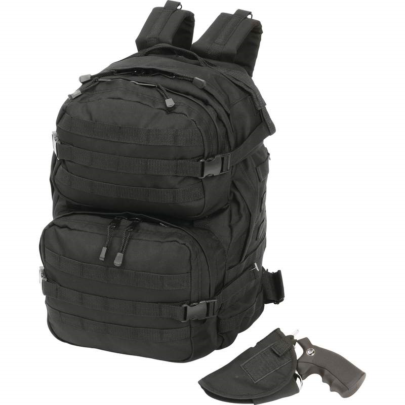 Black Backpack with Waist Fastener and Concealed Handgun Holster