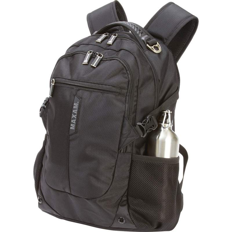 """20"""" Maxam Black Executive Backpack w/Padded Compartment for Laptop"""