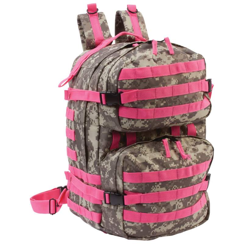 ExtremePak Camouflage Water Resistant Backpack with Pink Webbing