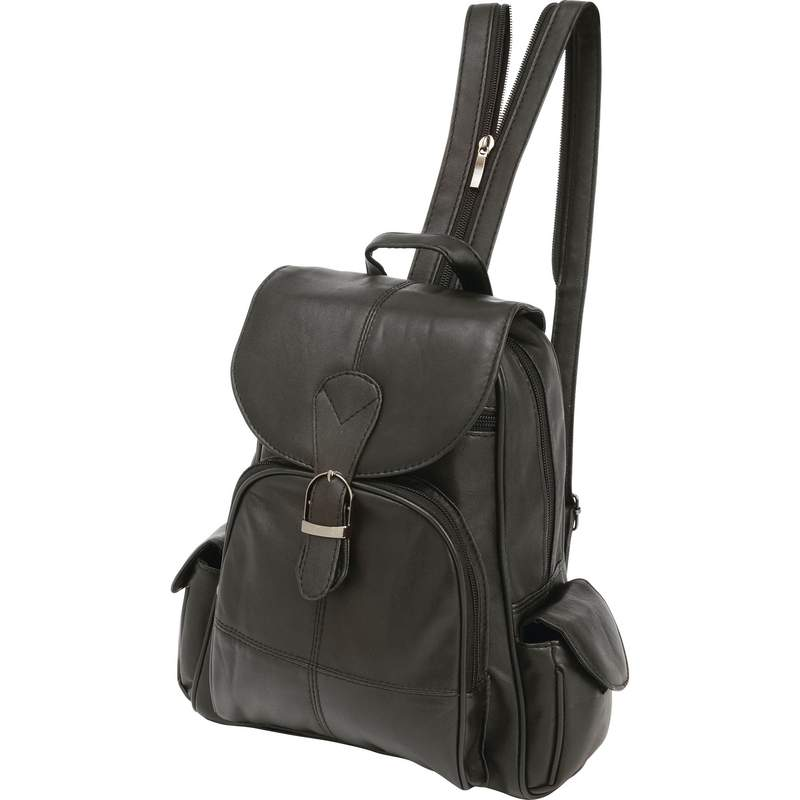 Black Solid Lambskin Leather Backpack with Magnetic Closure