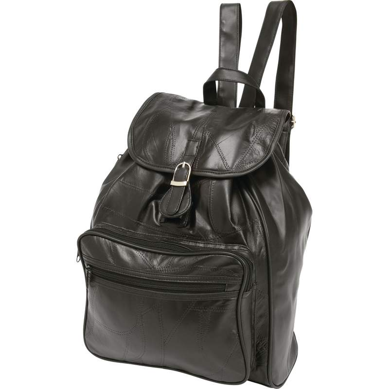 Black Lambskin Leather Backpack with Interior Slip Pockets