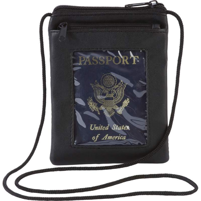Embassy Solid Lambskin Leather Passport Cover with Neck Strap