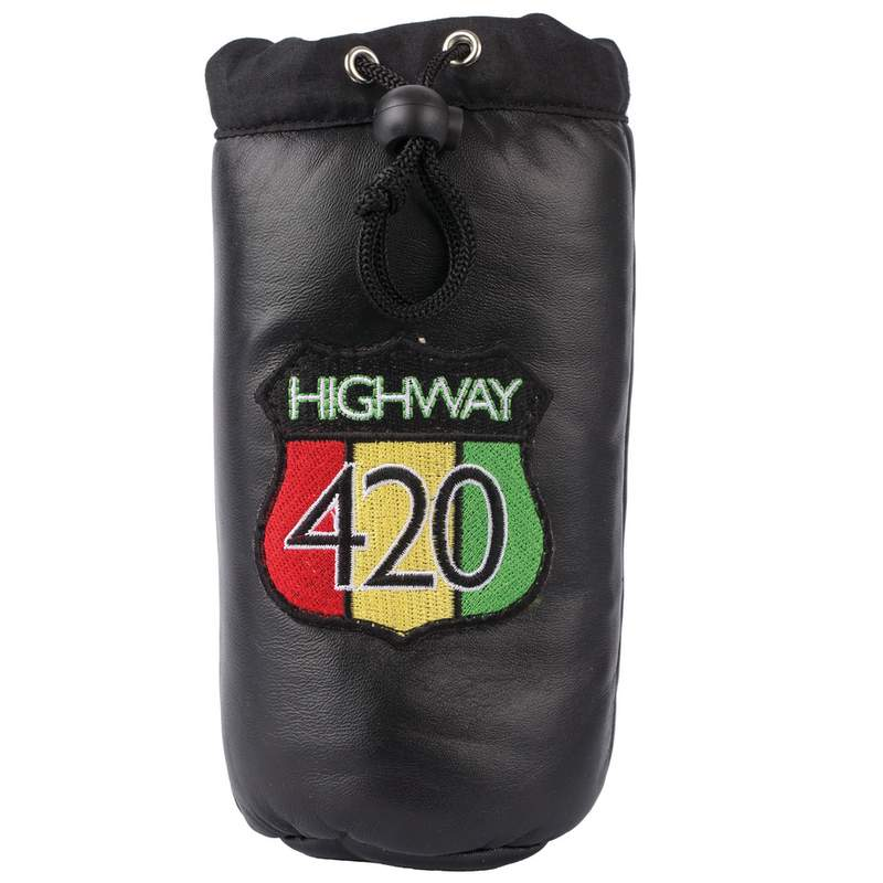 Highway 420 Black Genuine Leather Pipe Storage Bag
