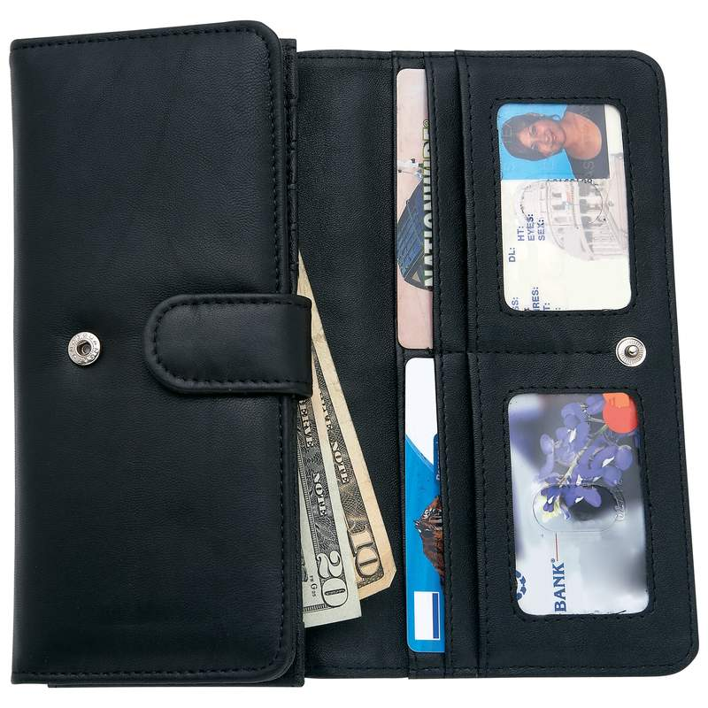 Embassy Ladies Leather Wallet with Zippered Exterior Compartment