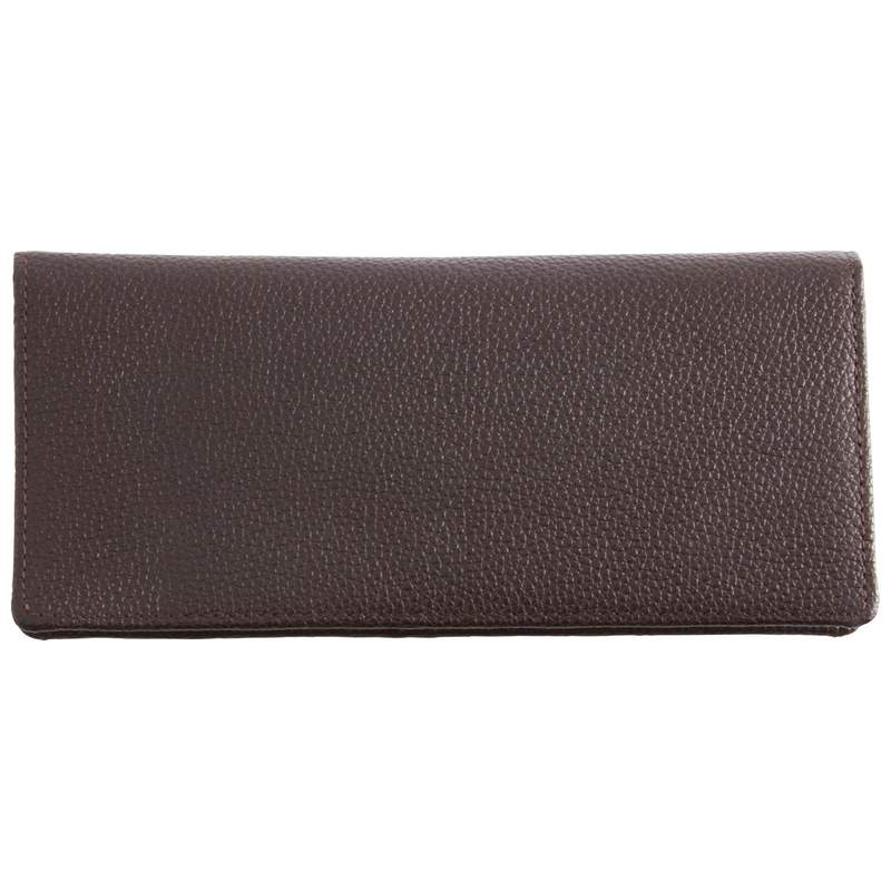 Embassy Brown Solid Lambskin Leather Wallet with Exterior Pocket