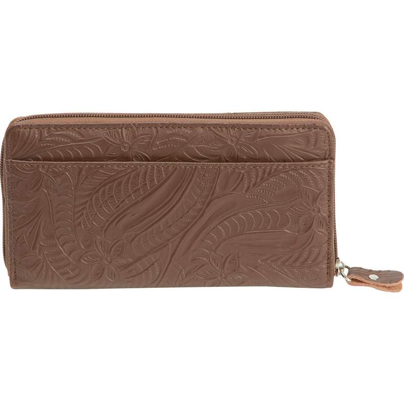 Casual Outfitters Brown Leather Ladies Zippered Closure Wallet