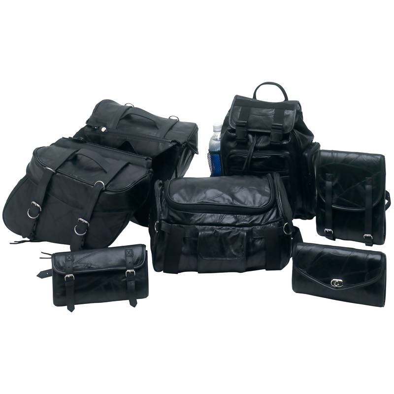 Diamond Plate 7pc Rock Design Buffalo Leather Motorcycle Bag Set ...