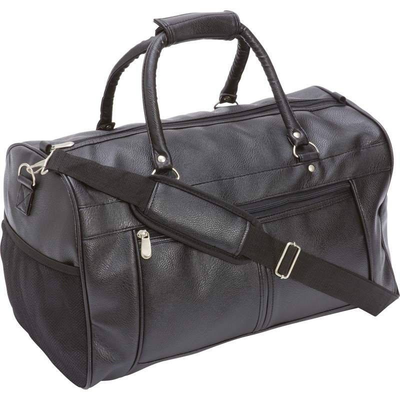 """Travel Gear 17"""" Faux Leather Tote Bag with Square Rubber Feet"""