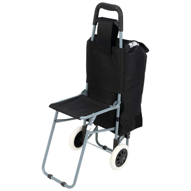 Maxam Trolley Shopping Bag with Folding Chair and Drawstring Bag
