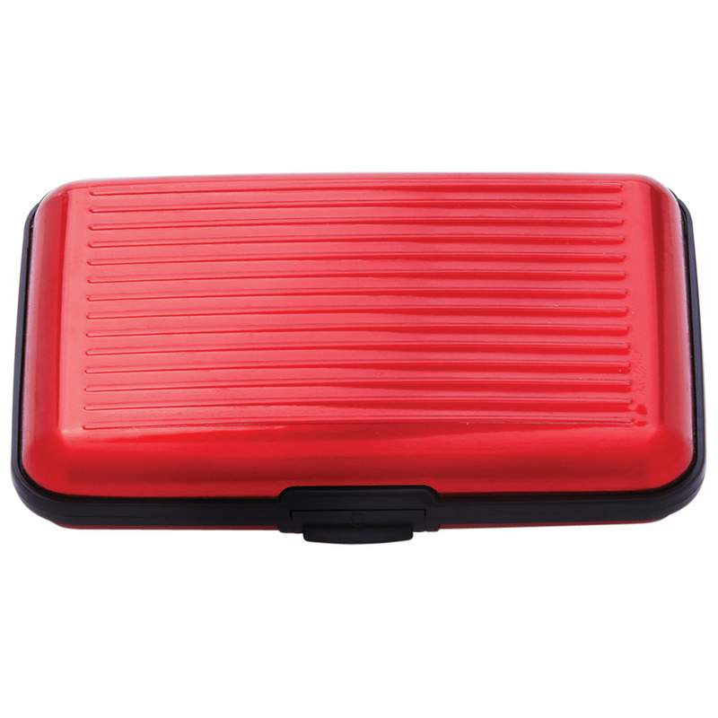 Embassy Bright Red Aluminum Wallet with 7 Interior Dividers