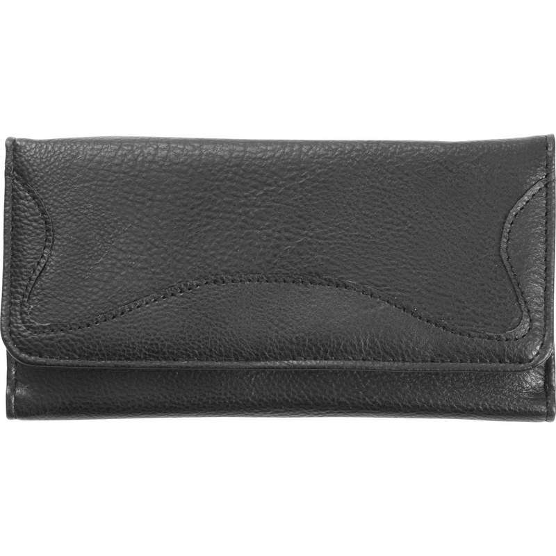 Faux Leather Ladies Tri Fold Wallet with Clear Window for ID