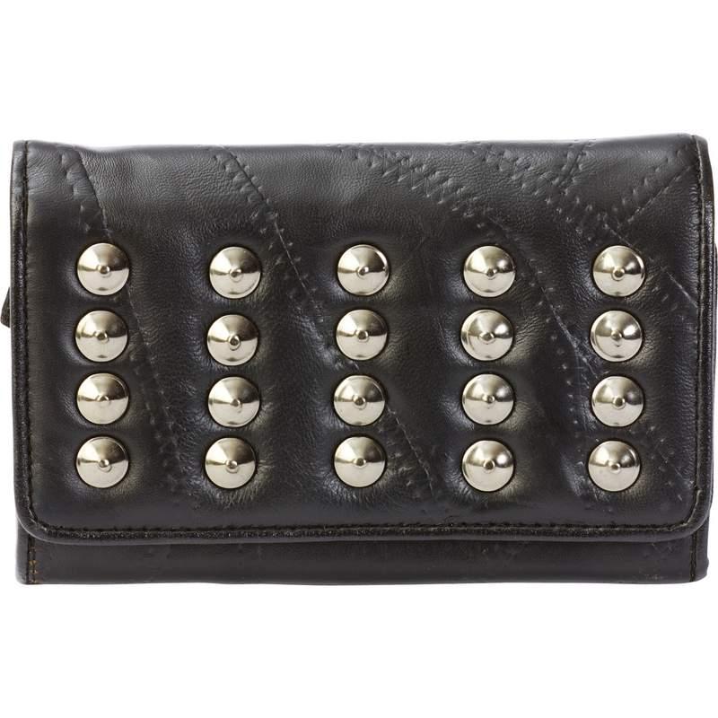 Embassy Italian Stone Design Fabric Lined Lambskin Leather Wallet