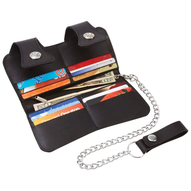Leather Double Snap Biker/Trucker Wallet with Chain and Belt Clip
