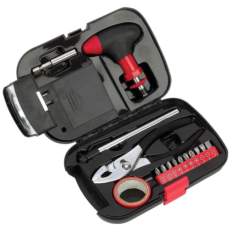 Maxam 16pc Emergency Tool Set with Integrated Flashlight