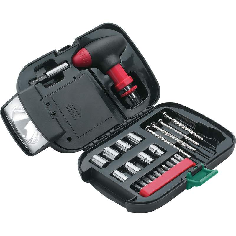 Maxam 25pc SAE Tool Set Features Case with Integrated Flashlight