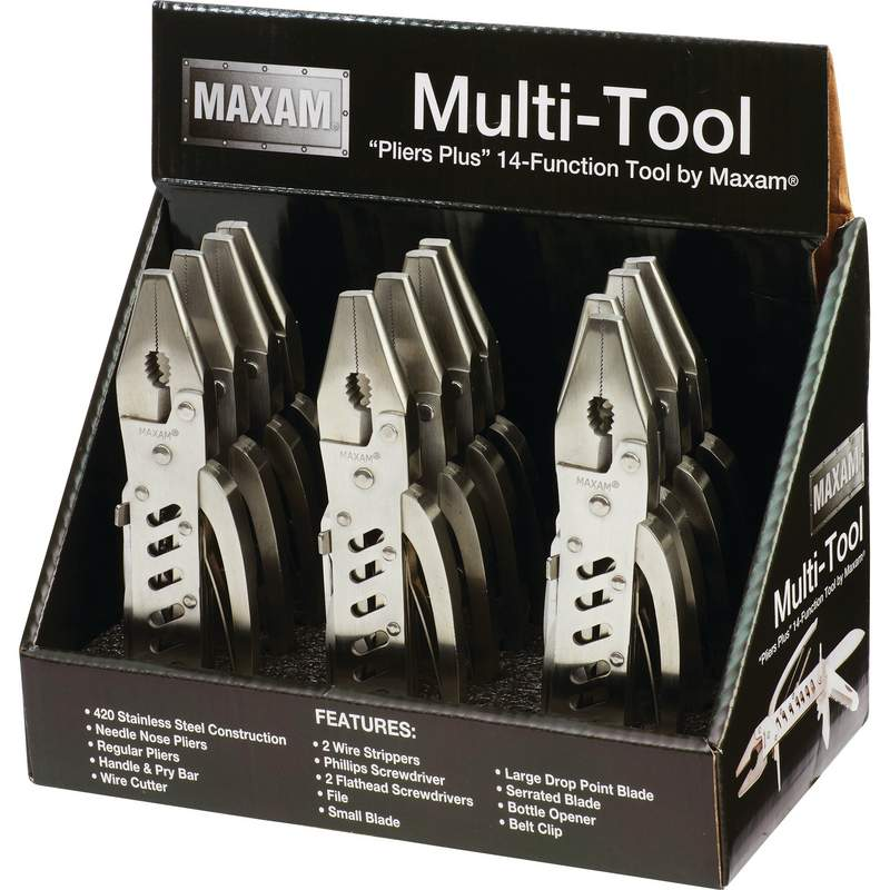 Maxam 12pc 420 Stainless Steel Multi Tools in Countertop Display