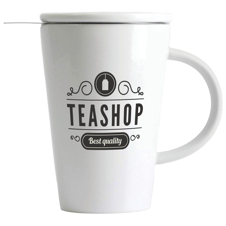 Wyndham House 13.5 oz White Porcelain Tea Steeping Mug with Custom Pad Print