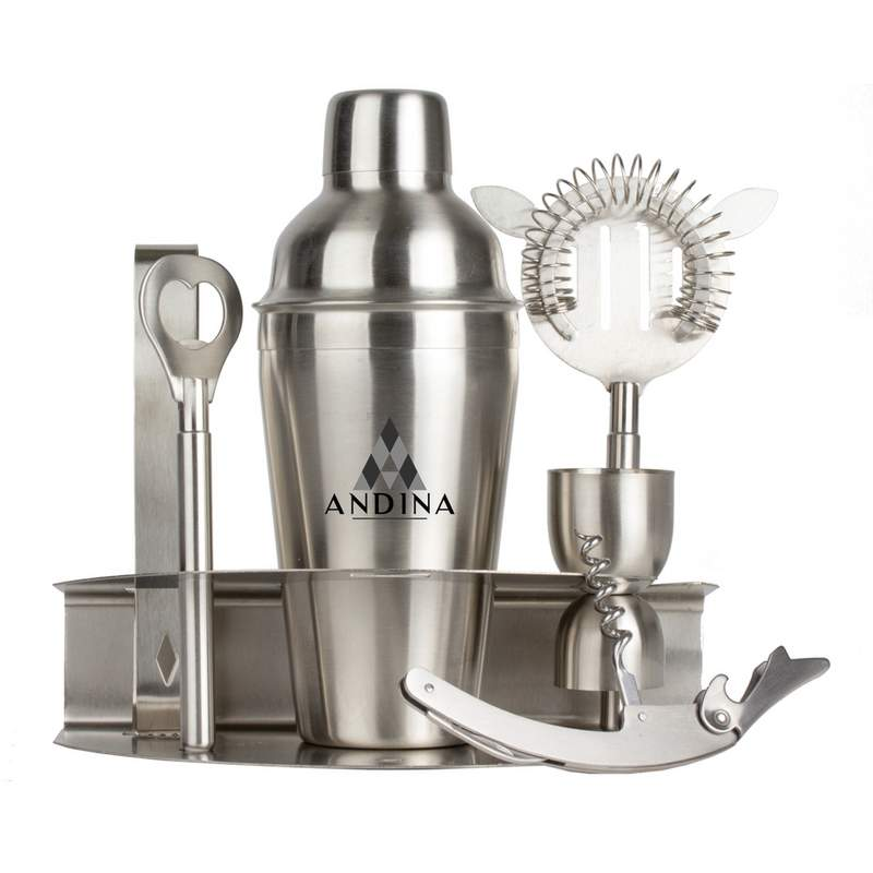 Wyndham House 7pc Stainless Steel Bar Set with Color Screen Print