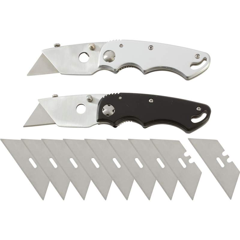 Maxam 2pc Razor Folding Knives with Belt Clip and 9 Extra Blades