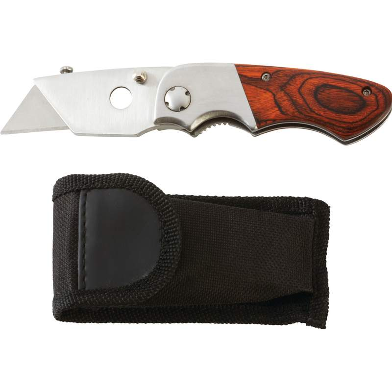 Maxam Razor Folding Knife with Belt Clip and Pakka Wood Handle