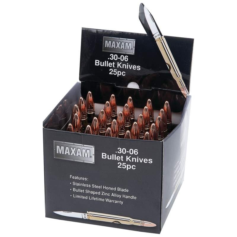 Maxam 25pc Gold Tone Bullet Shaped Knives in Countertop Display