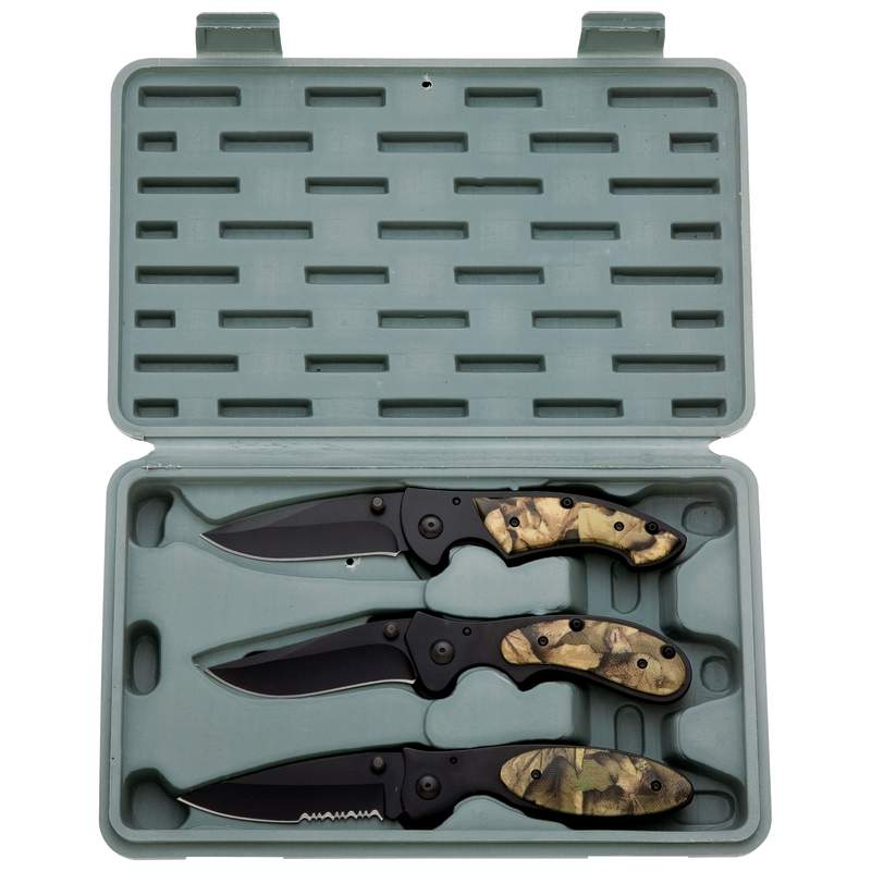 Maxam 3pc Liner Lock Knife Set with Camouflage Handles and Case