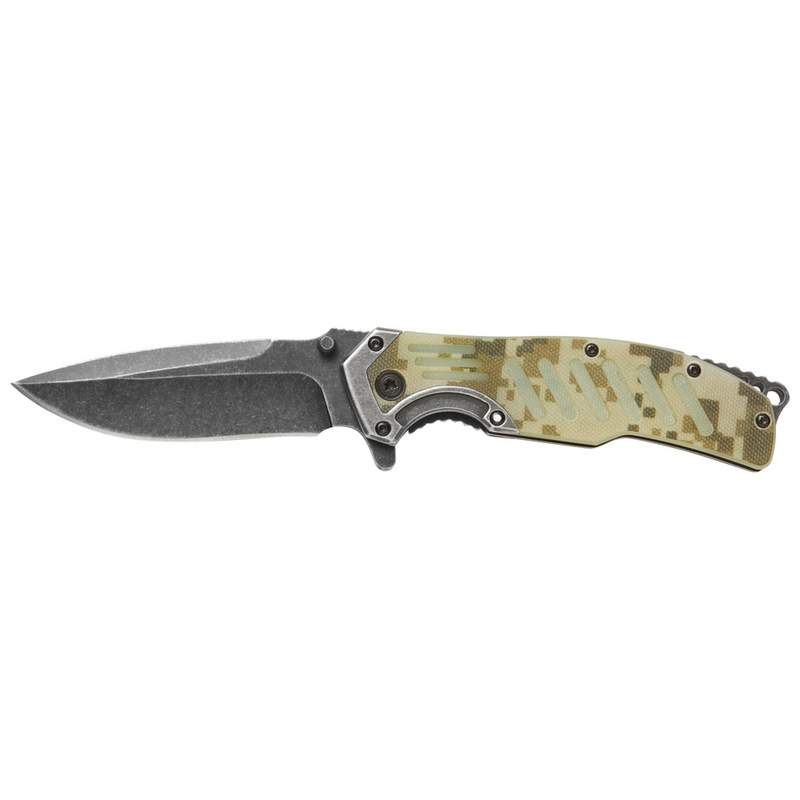 Assisted Opening Liner Lock Knife with Camouflage G 10 Handle