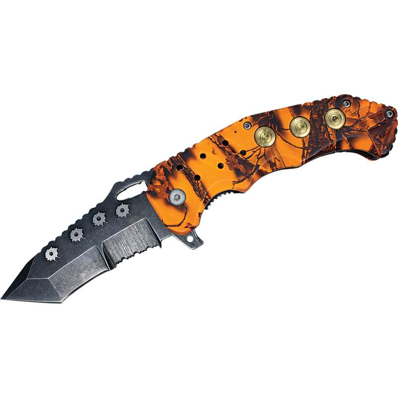 Stainless Steel Liner Lock Knife with Orange Camouflage Handle