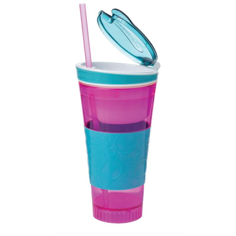 Travel Cup Holds a 16oz drink and your favorite snack in one hand