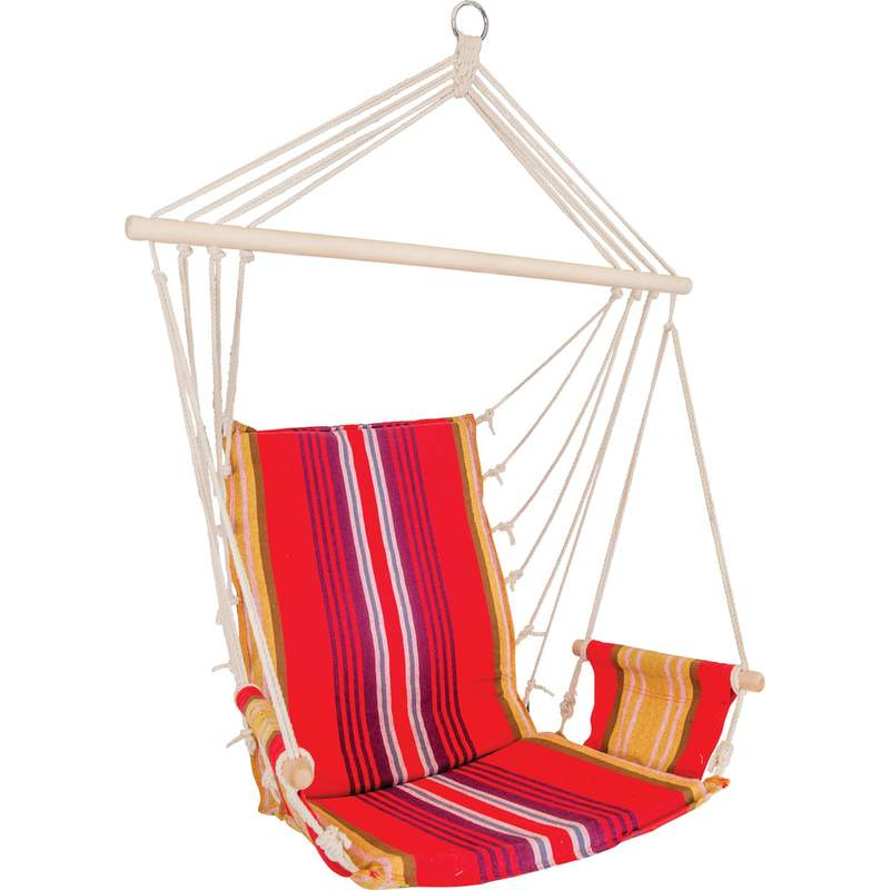 Club Fun Cushioned Hanging Rope Chair with Arm Rests Holds 265lbs