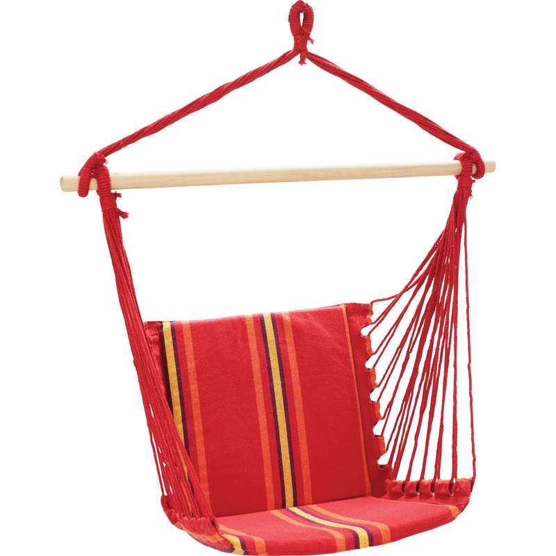 Club Fun Hanging Rope Chair with Plush Seat and Back Cushion