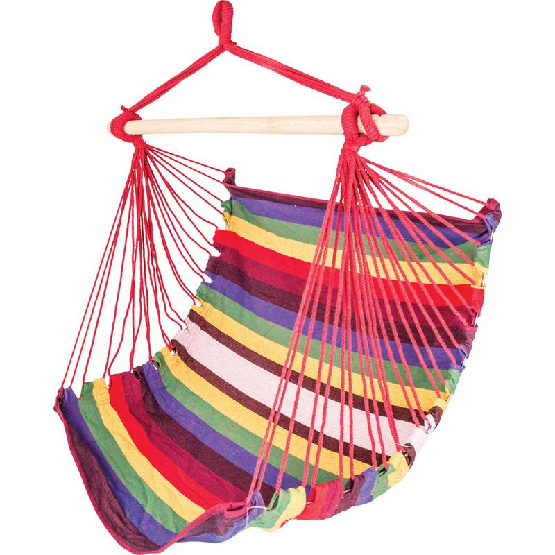 Hanging Rope Chair with Premium Wood Bar Weight Capacity 264lbs